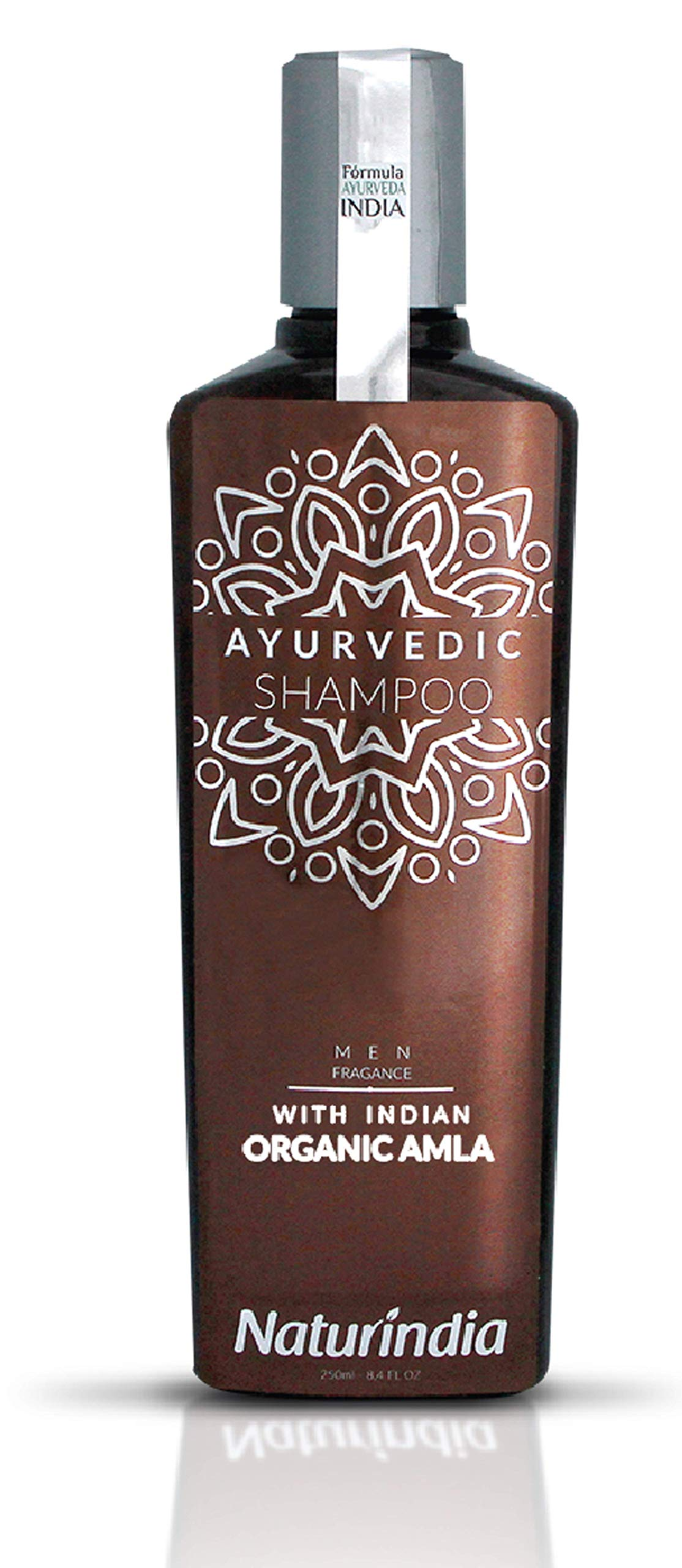 Naturindia Ayurvedic Shampoo for Men Hair Growth ORGANIC AMLA DHT Blocker Indian Vitalize Formula for Shiny and Strong Hair with Vitamin C and B-Complex and natural herbs from India 8,4 oz
