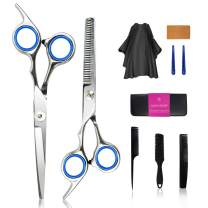 Professional Hair Cutting Set 10 Hairdressing Scissors Kit Hair Cutting Scissors Thinning Scissors Razor.Comb, Clip, Cape,