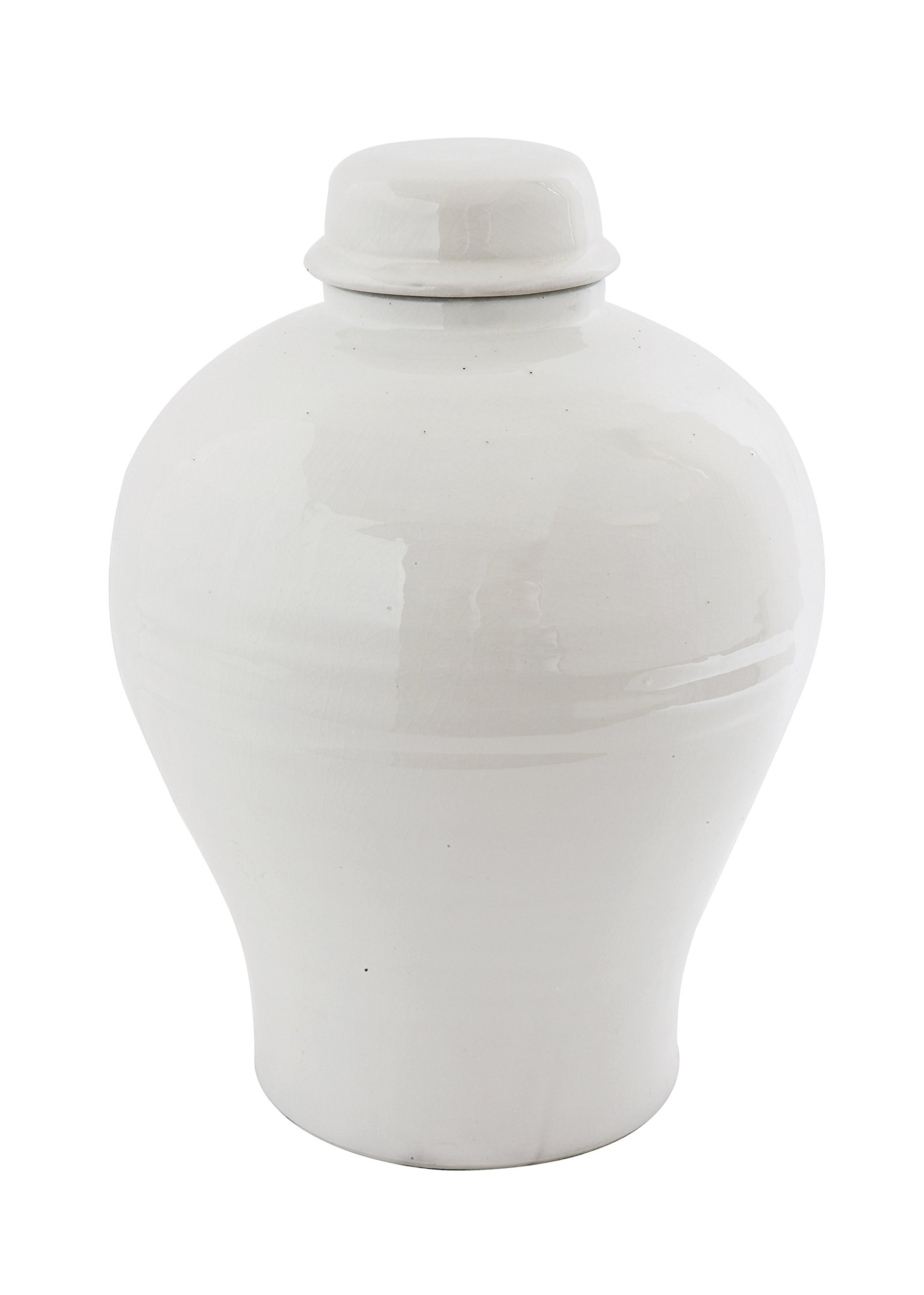 Creative Co-Op Large Round White Terracotta Cachepot, 14 Inch