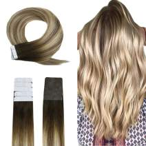 """Easyouth Tape in Human Hair Extensions Real Human Hair Color Darker Brown Fading to Ash Brown Highlighted with Blonde (16"""" 40g), Tape on Hair Extensions for Women Balayage Hair Extensions"""