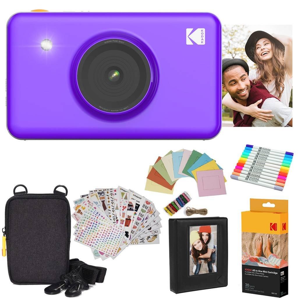 Kodak Mini Shot Instant Camera (Purple) Gift Bundle + Paper (20 Sheets) + Deluxe Case + 7 Fun Sticker Sets + Twin Tip Markers + Photo Album + Hanging Frames