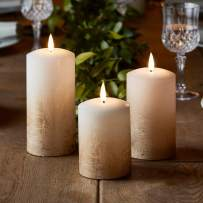 Lights4fun, Inc. Set of 3 TruGlow Bronze Ombre Wax Flameless LED Battery Operated Pillar Candles with Timer
