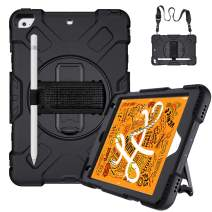 GROLEOA iPad Mini 5/4 Case Military Grade Shockproof Protective Cover with Pencil Holder 360 Swivel Hand Strap&Kickstand Detachable Shoulder Strap Case for iPad 5th/4th Generation 7.9inch Case Black