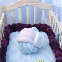 EASTSURE Baby Crib Bumper Knotted Braided Plush Nursery Cradle Decor Newborn Gift Pillow Cushion Junior Bed Sleep Bumper,Purple,39""