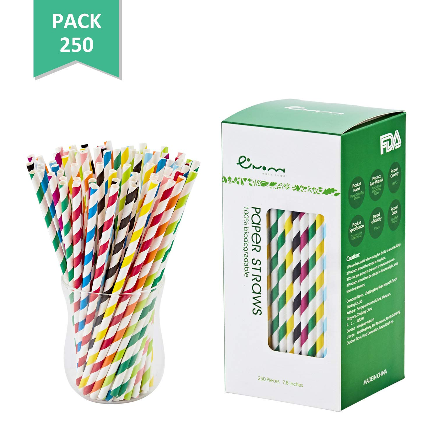EASY ROAD 250-Pack Biodegradable Paper Straws Bulk - 10 Different Colors Rainbow Stripe Drinking Straws For Party Supplies, Birthday, Wedding, Bridal/Baby Shower Decorations, Holiday Celebrations