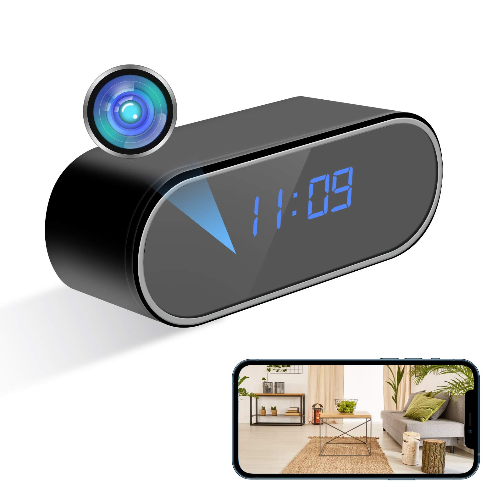 KAMRE 1080P WiFi Clock Camera Video Recorder with Night Vision and Motion Detection, Indoor Wireless Security Camera for Home Security/Baby Monitor/Pets