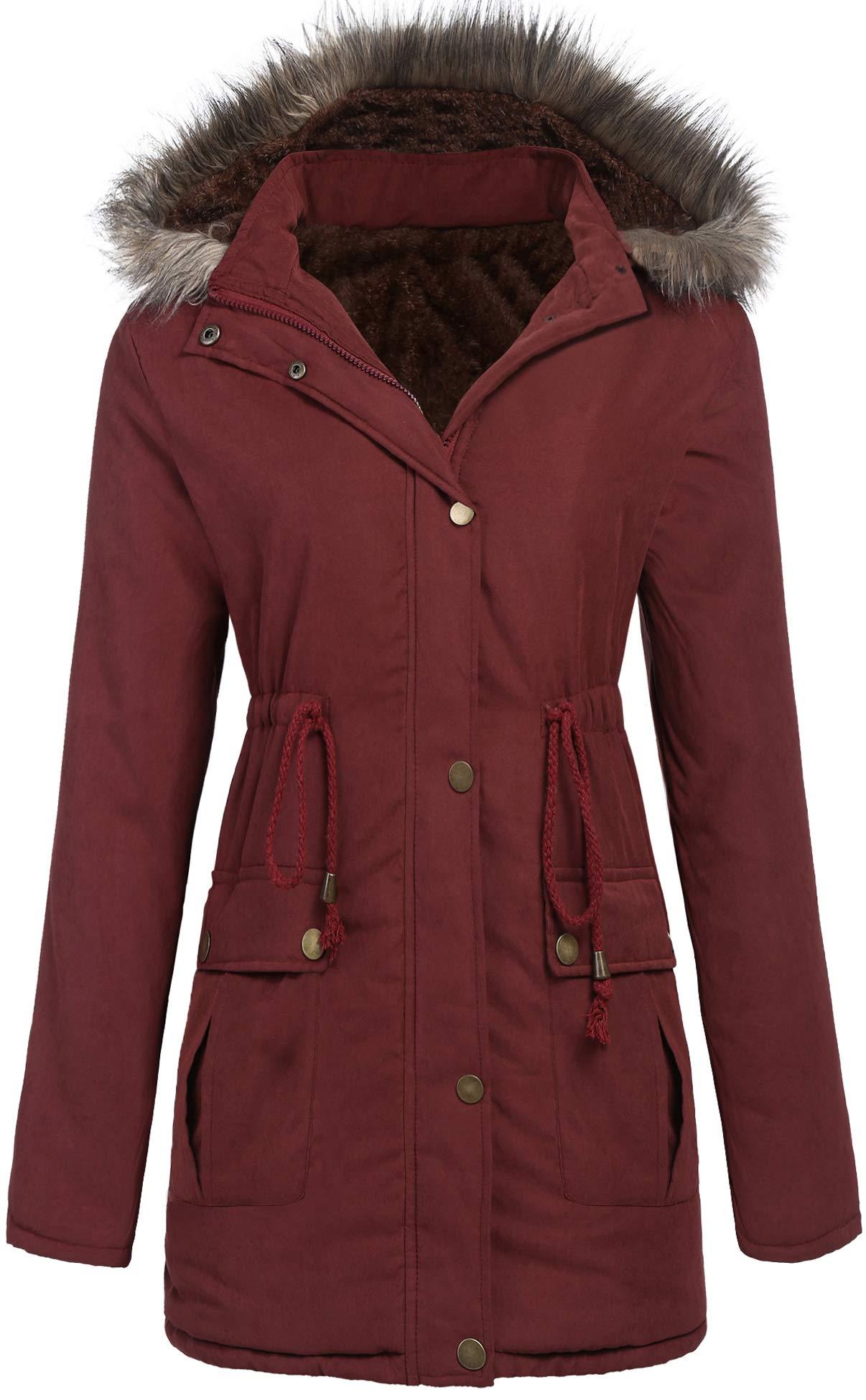SoTeer Women's Hooded Parka Coat Warm Winter Faux Fur Lined Outwear Jacket Overcoat S-XXXL