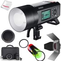 Godox AD400Pro Godox AD400 Pro with Barndoor Honeycomb Grid Color Filter Kit, 400W GN72 2.4G TTL Flash Strobe, 1/8000 HSS, 390 Full Power Pops, 0.01-1s Recycle Time, 30w LED Modeling Lamp