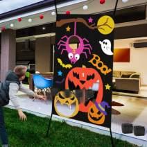 IROO Halloween Bean Bag Toss Games + 3 Bean Bags, Halloween Games Party Decorations Pumpkin Spider Web, Halloween Carnival Parties Games Indoor & Outdoor Fun Acivities for Kids and Adults