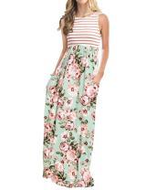 MEROKEETY Women's Striped Floral Print 3/4 Sleeve Tie Waist Maxi Dress with Pockets