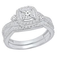 Dazzlingrock Collection 0.55 Carat (Ctw) 10K Gold Round White Diamond Ladies Swirl Bridal Engagement Ring Set 1/2 CT