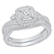 Dazzlingrock Collection 0.55 Carat (Ctw) 10K Gold Round White Diamond Ladies Swirl Bridal Engagement Ring Set 1/2 CT