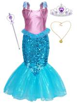Jurebecia Little Girls Mermaid Costume Kids Princess Dress Up Fancy Theme Birthday Party Outfits Role Play 3-10 Years