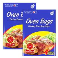 WRAPOK Oven Cooking Turkey Bags Large Size Ribs Baking Roasting Bags No Mess For Chicken Meat Ham Poultry Fish Seafood Vegetable - 8 Bags (17 x 21.5 Inch)