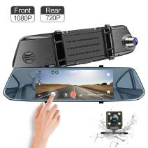 Mirror Dash Cam, 7 Inches 1080P Front & 720P Rear View Full HD Dual Lens Dashboard Camera Car Video Recorder G-Sensor, Parking Assistance, Loop Recording