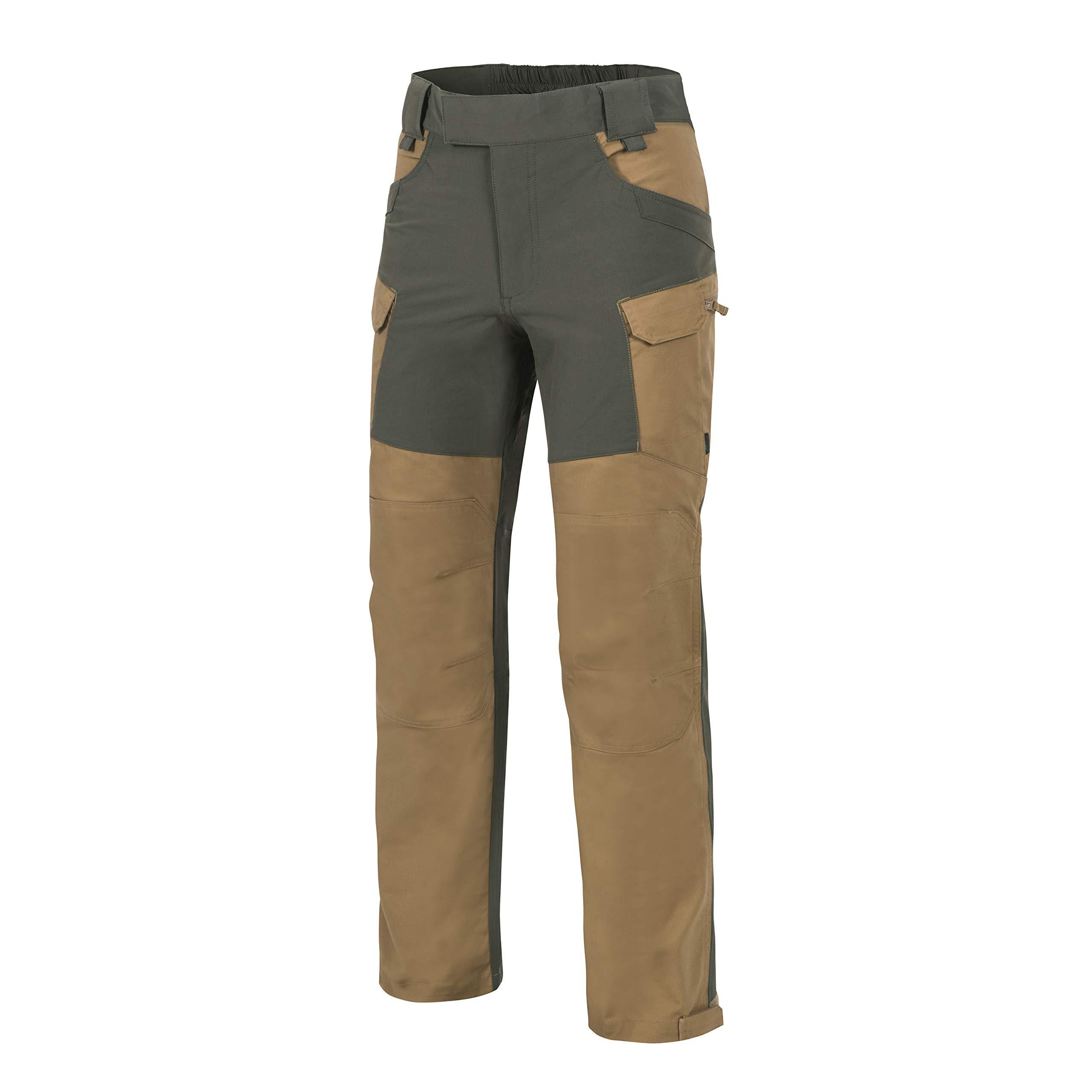 Helikon-Tex Outback Line, HOP Hybrid Outback Pants, DuraCanvas VersaStretch Coyote Brown/Taiga Green Waist 36 Length 32