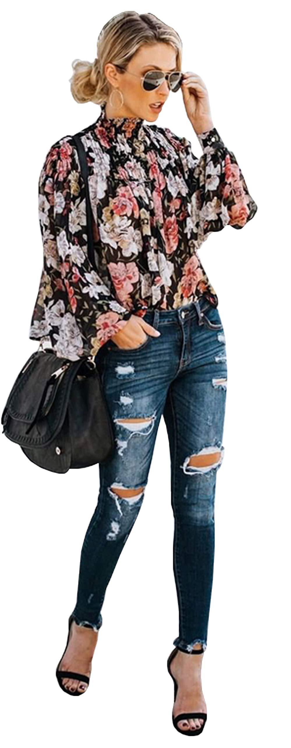 Longwu Women Sexy Ruffle High Neck Flower Printed Blouse Long Sleeve Loose Pullover Shirt Top