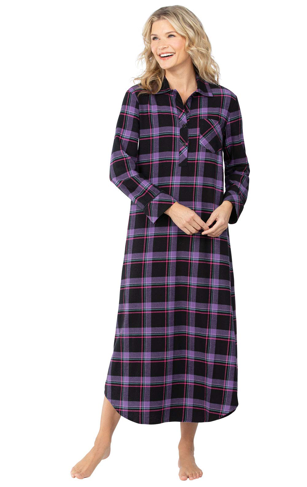 PajamaGram Women's Flannel Nightgown Plaid - Cotton Flannel Nightgown Womens