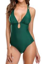 BeautyIn Women's Solid V Neck One Piece Swimsuit Push Up Bathing Suit Beachear