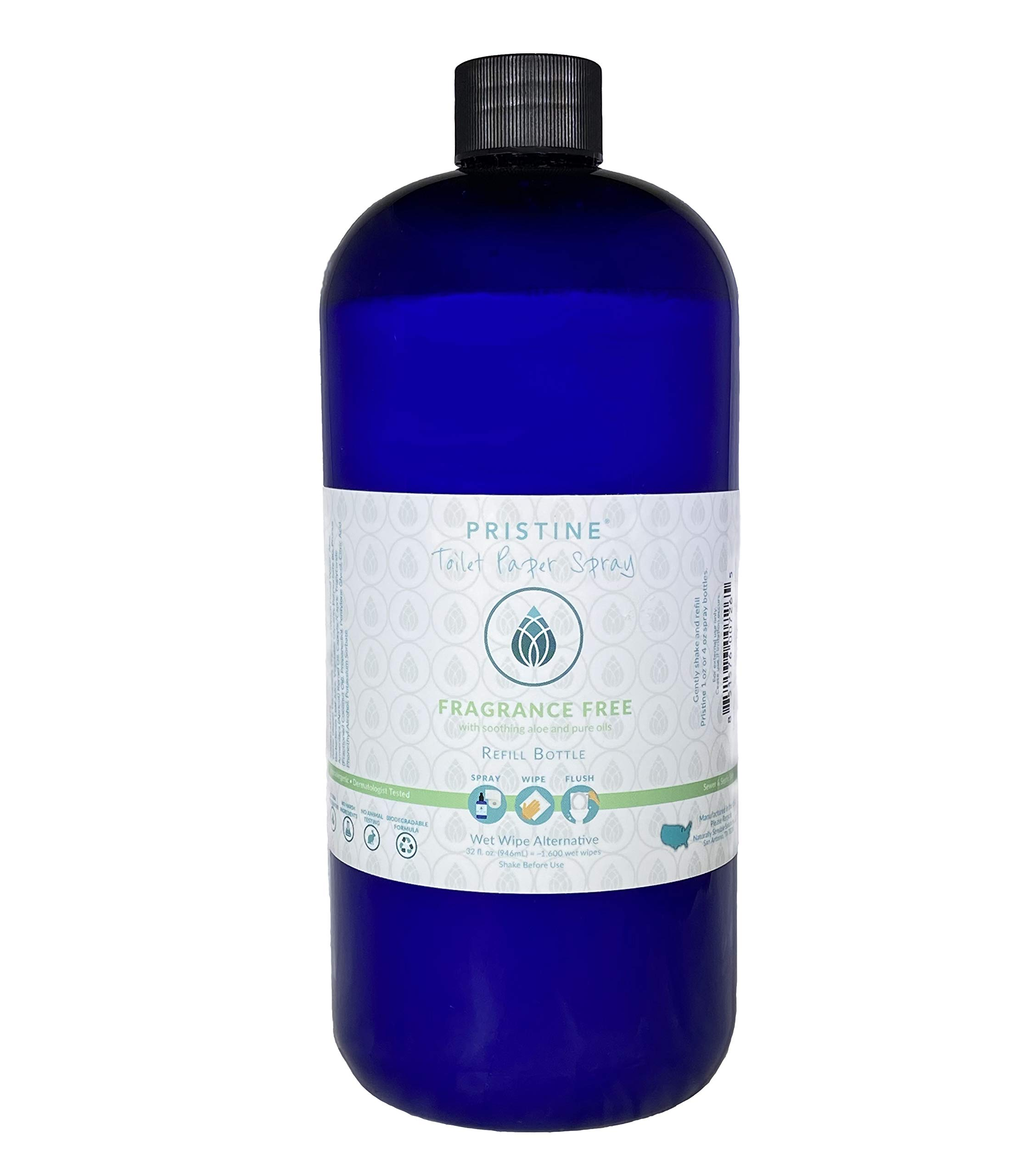 Pristine Toilet Paper Spray | As Seen On Shark Tank: The Planet Friendly, More Natural Alternative to Flushable Wet Wipes - Unscented 32 oz
