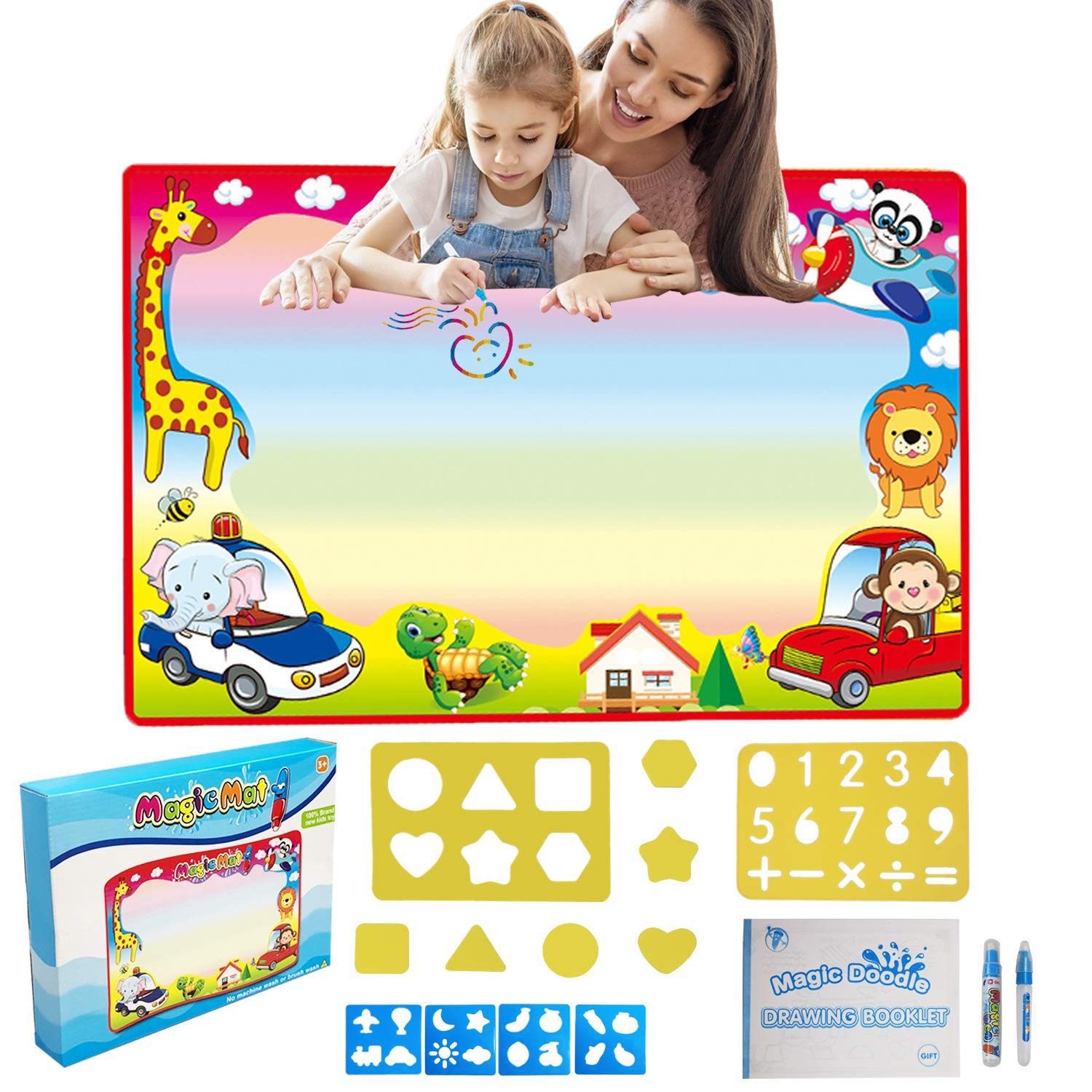 Aqua Drawing Mats for Toddlers, Water Doodle Mats 33.9×22.4 Inches Large, Kids Mess-Free Coloring Painting Writing Pad, Educational Toys Gifts for Children Boys Girls Age 2 3 4 5 6 7 8 Years Old