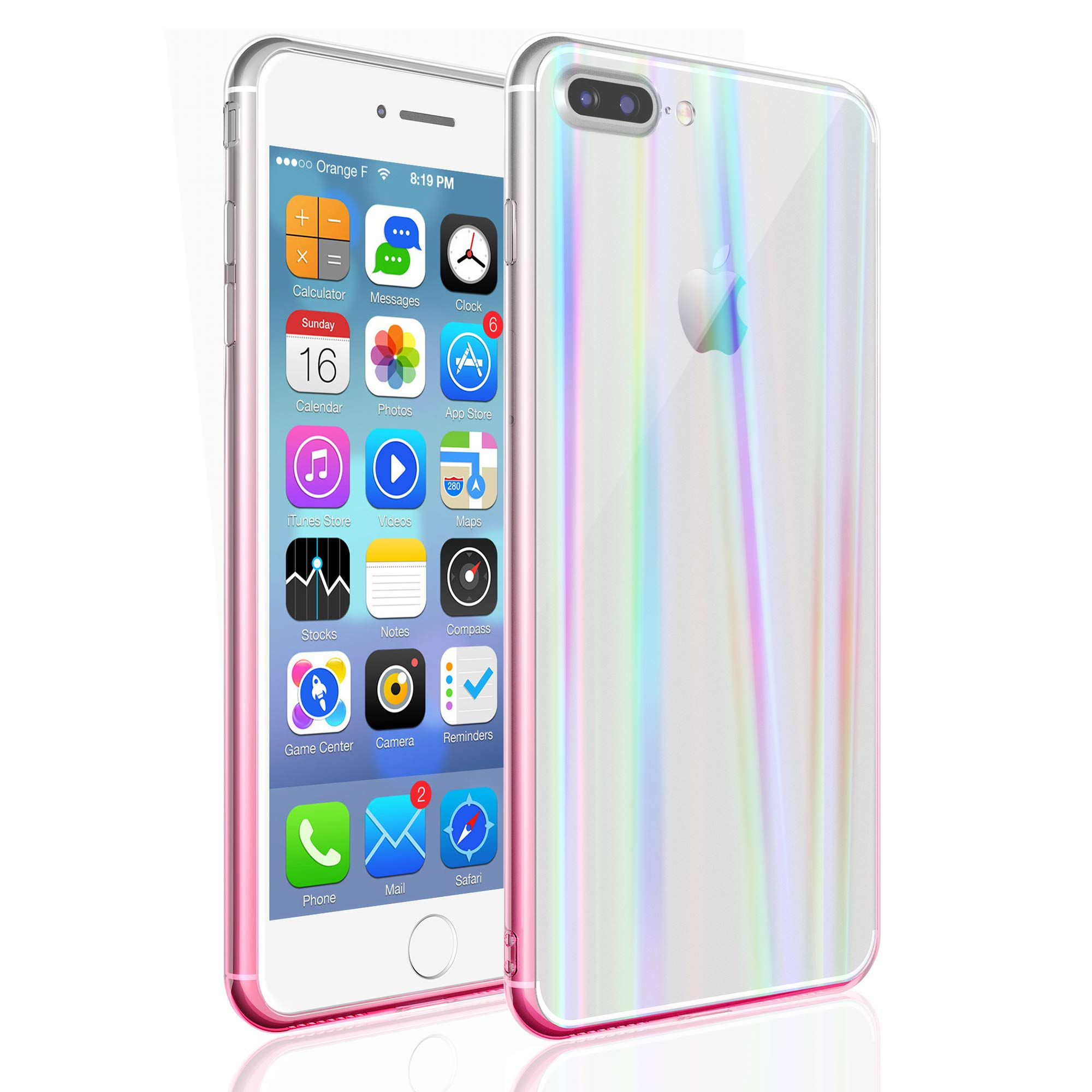EYZUTAK Transparent Aurora Gradient Color Case for iPhone Xs Max, Ultra Thin Tempered Glass Back Anti-Scratch TPU Bumper Shockproof Protective Case Cover for iPhone Xs Max - Pink