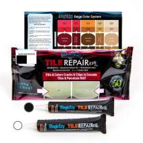 MagicEzy Tile Repairezy Fix Cracked and Chipped Ceramic Tiles, Bathtubs, Showers, Sinks Fast - Tile Repair Filler - Porcelain, Granite, Marble, Stone (Black and White Kit)