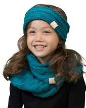 K1-HWK-46 Kids Beanie & Scarf Bundle (Headwrap): Teal