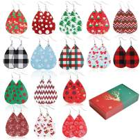Finyosee 16 Pairs Christmas Faux Leather Xmas Earrings Teardrop Dangle Drop Earrings, Different Colors Holiday Earrings for women Fashion Costume Decorations