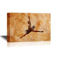wall26 - Canvas Wall Art - Ballet Dancer Jumping in The Air on Vintage Background - Gallery Wrap Modern Home Decor   Ready to Hang - 32x48 inches