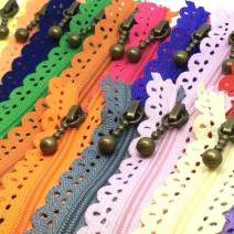 LNKA Lace Zippers 20CM(7.8inch) Novelty 20pcs/Pack 3# End Zipper DIY Nylon Coil Flower Zipper for DIY Sewing Dress Tailor Craft Bed Bag Random Color