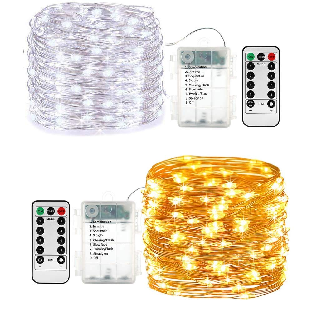 Lyhope 2 Pack Battery Fairy Lights, 16.4ft 50 LED Twinkle String Lights with Timer Remote Copper Wire Decorative Lights for DIY Home,Wedding,Valentine,Holiday,Party (Warm White & Cool White)