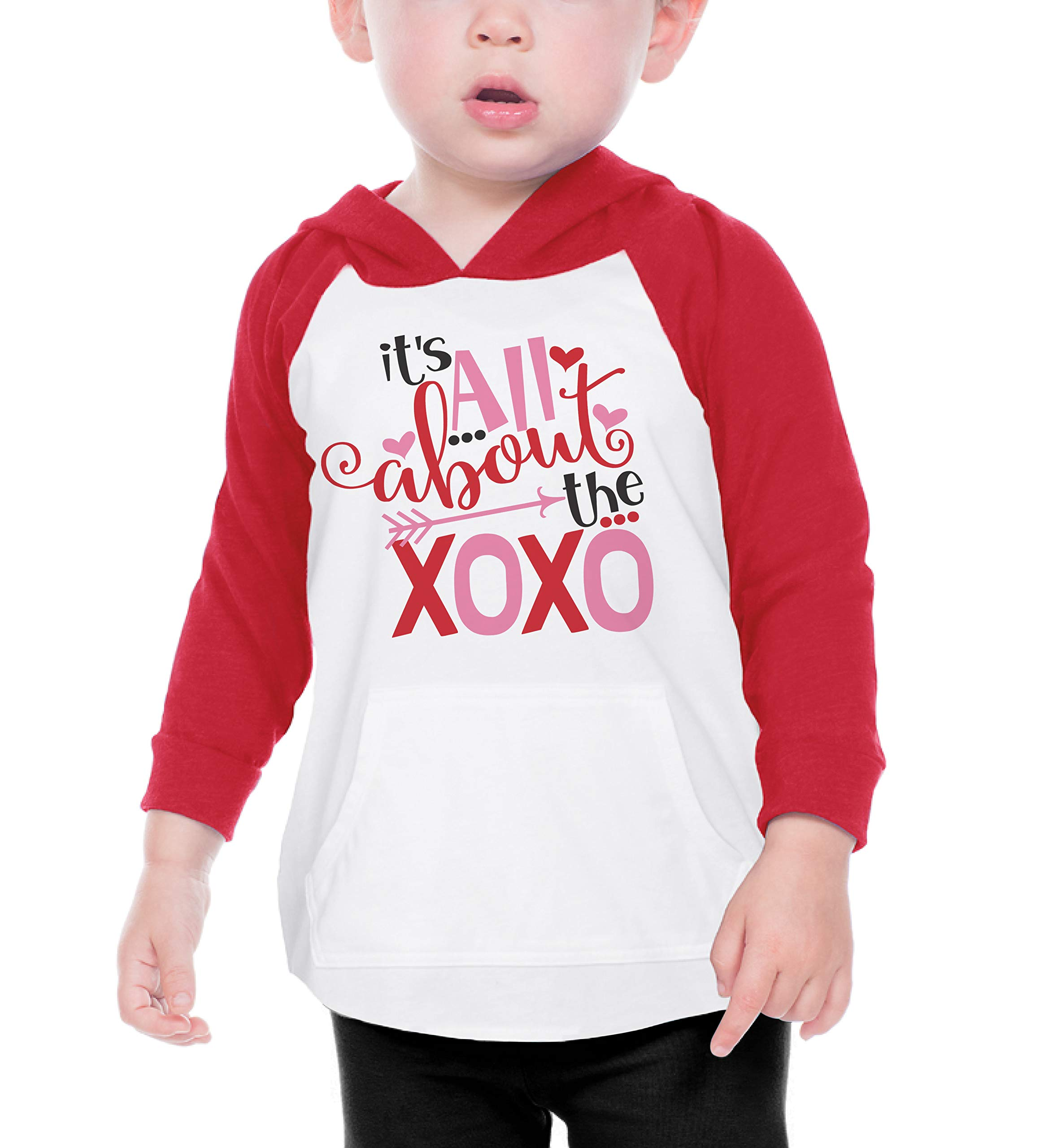 Bump and Beyond Designs Toddler and Kids It's All About The XOXO Valentine's Day Shirt Boy and Girl Long Sleeve Raglan Hoodie