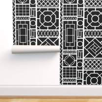 Spoonflower Peel and Stick Removable Wallpaper, Trellis Black White Modern Palm Beach Fretwork Chinoiserie Quadrille China Seas and Print, Self-Adhesive Wallpaper 24in x 36in Roll
