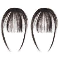 careonline 2PCS Clip in Bangs Real Human Hair Bangs Extensions Remy Hair Air Bangs with Temples Dark Black Bangs One Piece Clip in Fringe Hair Extensions for Women