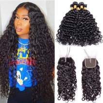 Maxine Malaysian Water Wave Wet And Wavy Virgin Human Hair Weave with Closure 4x4 Middle Part Lace Closure with Baby Hair (12 14 16 with 10)