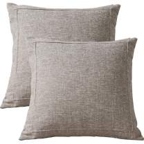 CAREMORE Blank Linen Striped Decorative Throw Pillow Covers Set of 2, Modern Soft Neutral Square Light Décor Cushion Throw Pillow Cases, for Sofa Bed Couch Bedroom 18x18 (Beige)