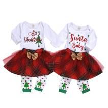 Newborn Girls My First Christmas Skirt Set Baby Girls Sister Matching Christmas Romper Red Plaid Skirt Outfit Set