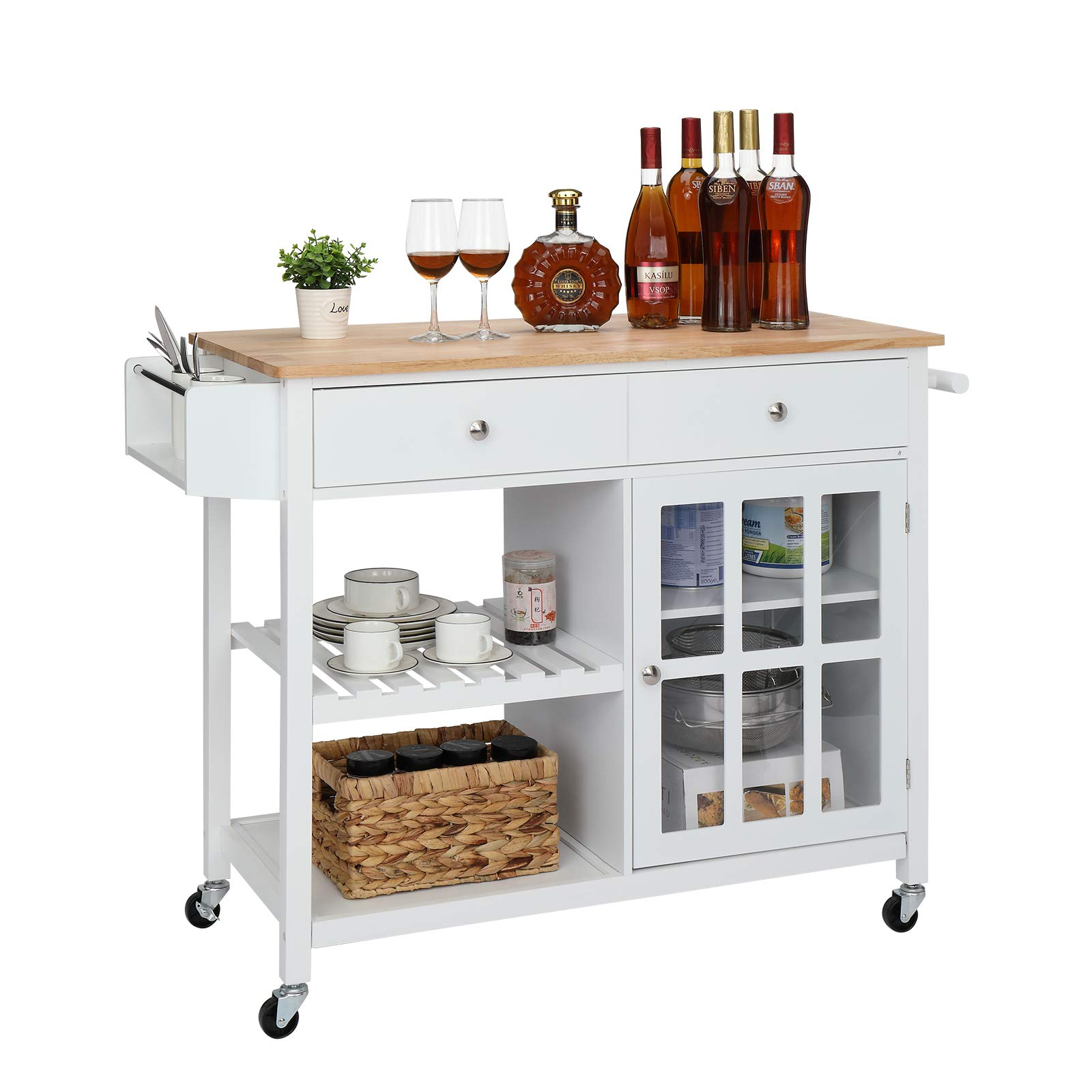 VINGLI Kitchen Island Rolling Utility Trolley White Coffee Bar Cabinet Cart with Tempered Glass Door, Drawer, Open Storage Shelves, Towel Handle, Spice Rack and Solid Wood Toptable