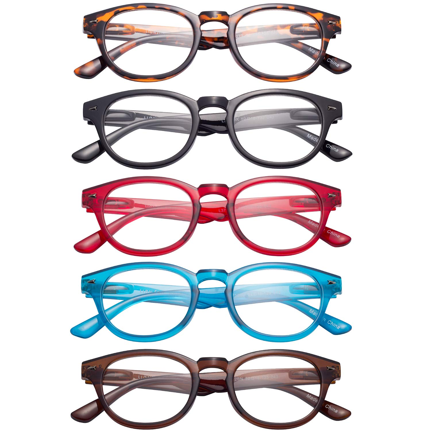 LianSan 5 Pairs Readers Spring Hinged Round Reading Glasses for Men and Women L3712 Black Red Blue Brown Demi