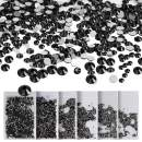 Wholesale 8640 Pcs Black Nail Crystal Rhinestones, Teenitor 6 Sizes Element Flatback Round Gems Stones Decorations Sparkly Charms Diamonds Beads For Nail Art Jewelry Craft Card Dress Shoes