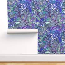 Spoonflower Peel and Stick Removable Wallpaper, Abstract Purple Green Black Paint Marble Swirl Marbled Splash Agate Malachite Print, Self-Adhesive Wallpaper 24in x 108in Roll