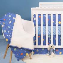 Brandream Crib Bedding Sets for Boys Space Galaxy Nursery Bedding 100% Cotton Navy Blue Fitted Crib Blanket 3 Pieces Boys Nursery Bedding Hot Gifts