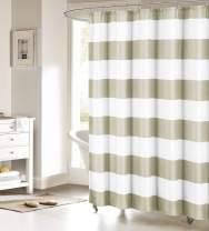 FAMILYDECOR Fabric Shower Curtain: Nautical Stripe Design (Sand and White)