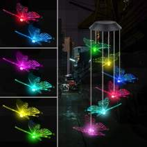 Fohil Butterfly Solar Wind Chimes, Color Changing Outdoor Waterproof Solar Powered Mobile Hanging Chimes, LED Wind Chime Light for Garden Patio Yard Home Decoration