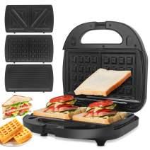ORFELD Sandwich Maker, Panini Press Grill, 750W 3 in 1 Detachable Non-Stick Coating, LED Indicator Lights