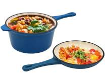 Enameled Cast Iron 2-In-1 Multi-Cooker, AIDEA 2-Quart Skillet and Lid Set, Cast Iron Saucepan - Non-Stick Anti-Rust Ceramic Dutch Oven Pot Frying Pan for Chef Kitchen Restaurant Christmas Gifts-Blue