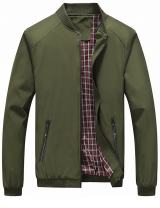 Tanming Men's Color Block Slim Casual Thin Lightweight Bomber Jacket