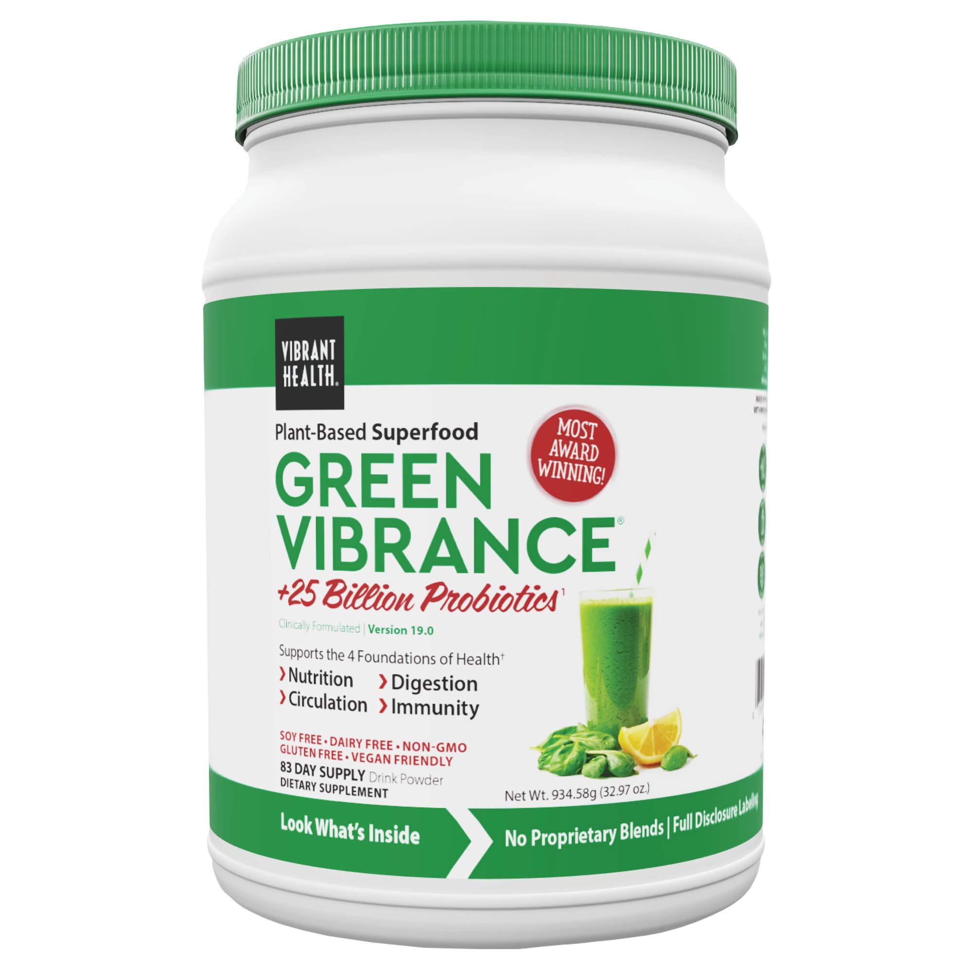 Vibrant Health, Green Vibrance, Plant-Based Superfood Powder, 25 Billion Probiotics Per Scoop, Vegan Friendly, 83 Servings (FFP)