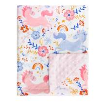 BORITAR Baby Blanket for Girls Warm Soft Double Layer Minky Blankets with Dotted Backing, Pink Florar with Unicorn Multicolor Printed Reciving Blanket 30 x 40 Inch(75x100cm)